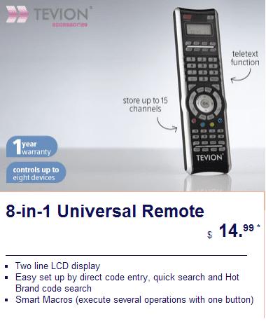 Tevion Universal Remote
