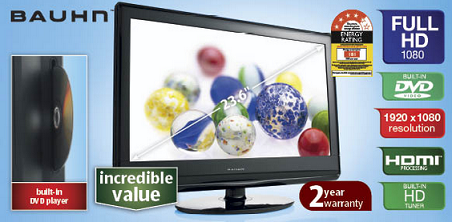 "60cm (23.6"") Full HD LCD TV with DVD Player"