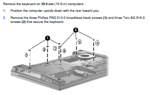 HP Compaq 620 Keyboard Removal
