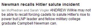 Newman recalls Hitler salute incident