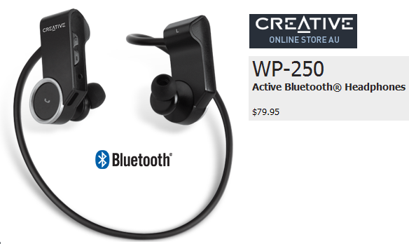 CREATIVE WP-250 Active Bluetooth Wireless Headphone Invisible Mic In-ear Headset