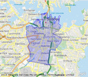 Map of Sydney Local Government Area LGA