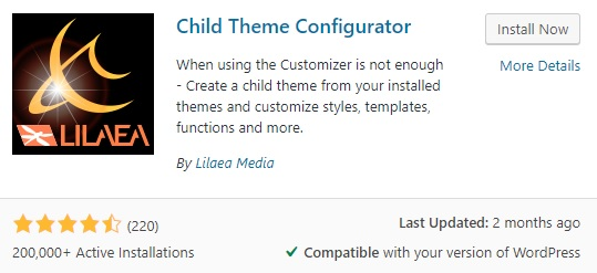 Child Theme Configurator by Lilea Media