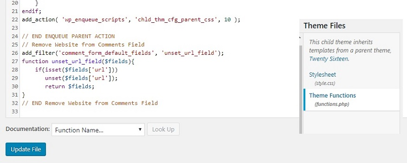 Comment Box changes in functions-php