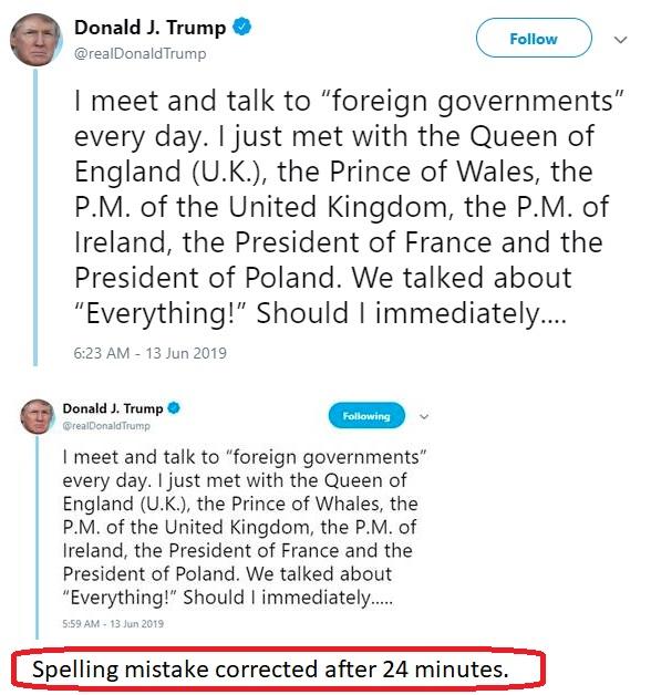 Donald Trump misspelt Prince of Whales