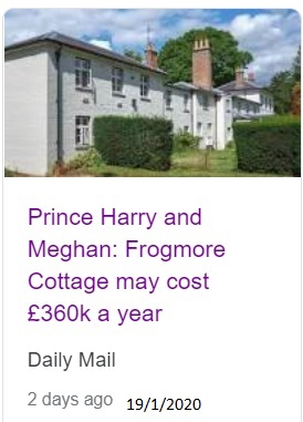 Frogmore cottage 360k per year