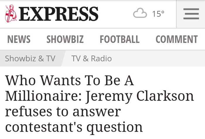 Jeremy Clarkson Refuses to Answer