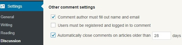 WordPress: Automatically close comments on articles older than 28 days